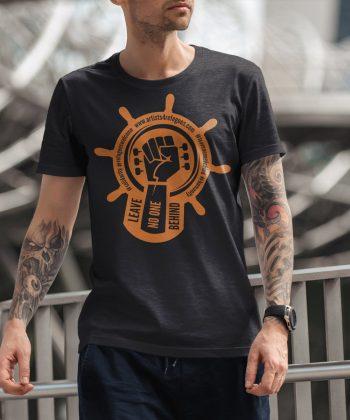 Artists 4 Refugees Solidarity Shirt, unisex, heather anthracite/orange 3