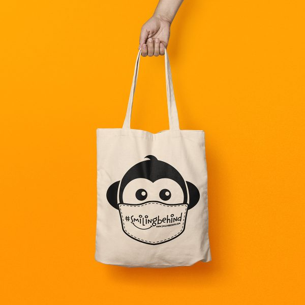 #SMILINGBEHIND Tote Bag - shopping bag with wide handles made from organic cotton 2