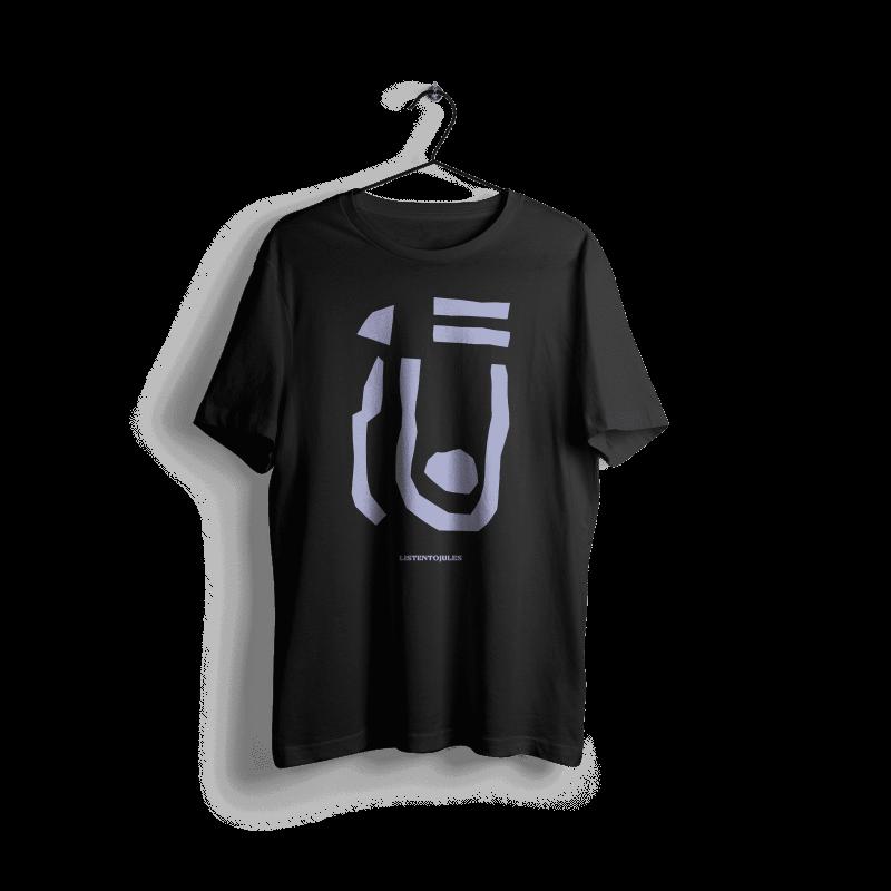LISTENTOJULES | T-Shirt | Schwarz mit Frontprint in Lila 1