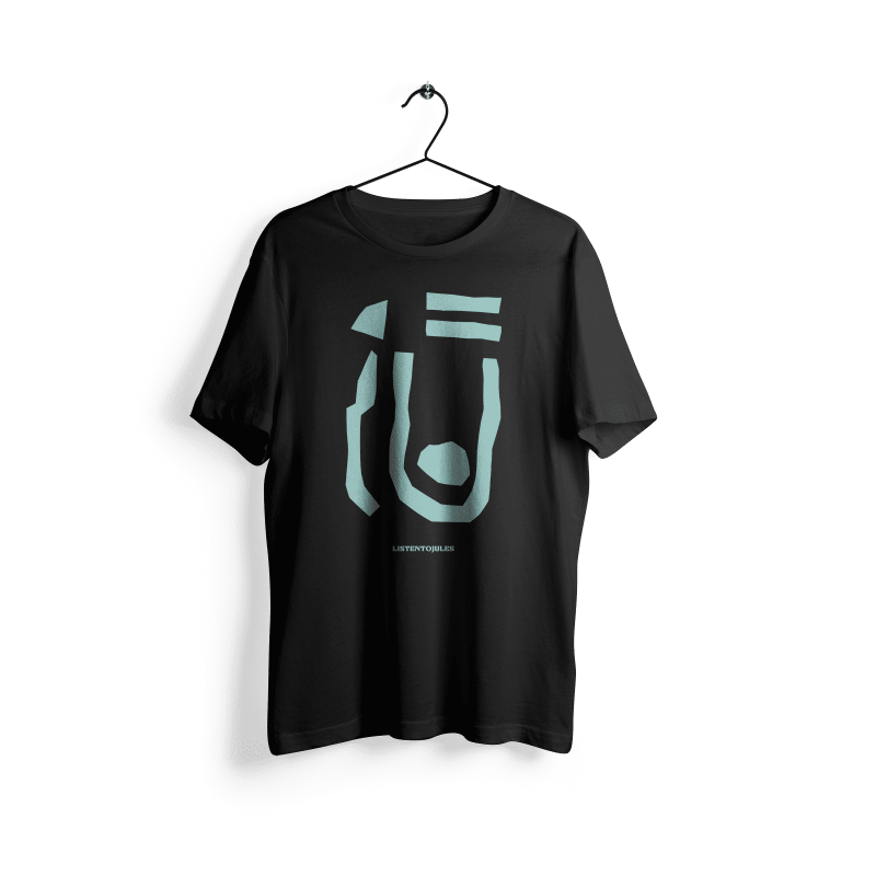 LISTENTOJULES | T-Shirt | Black with front print in turquoise 1
