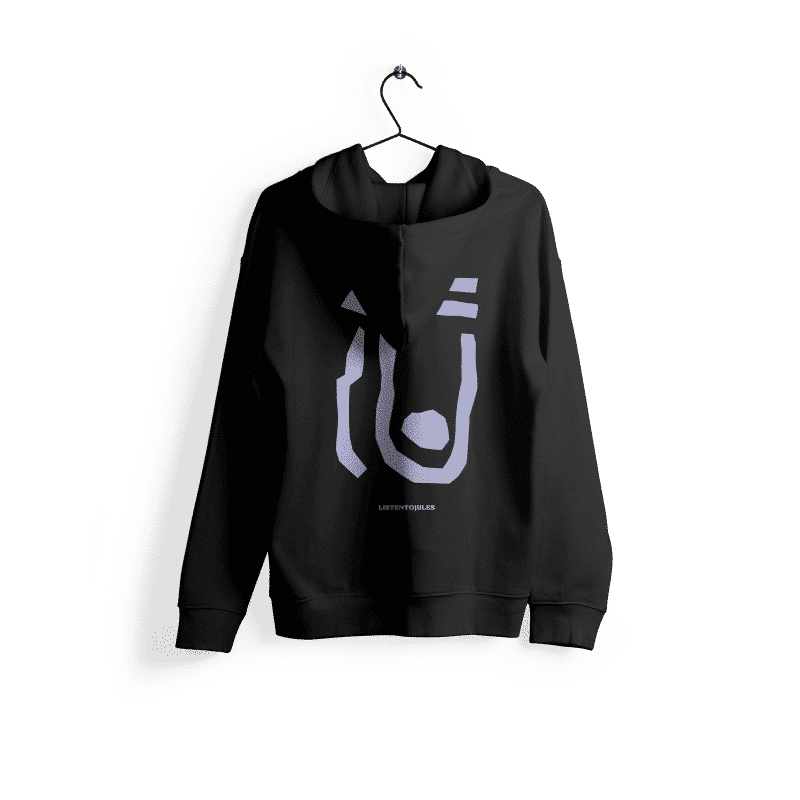 LISTENTOJULES | Hoody | Schwarz mit Backprint in Lila 1