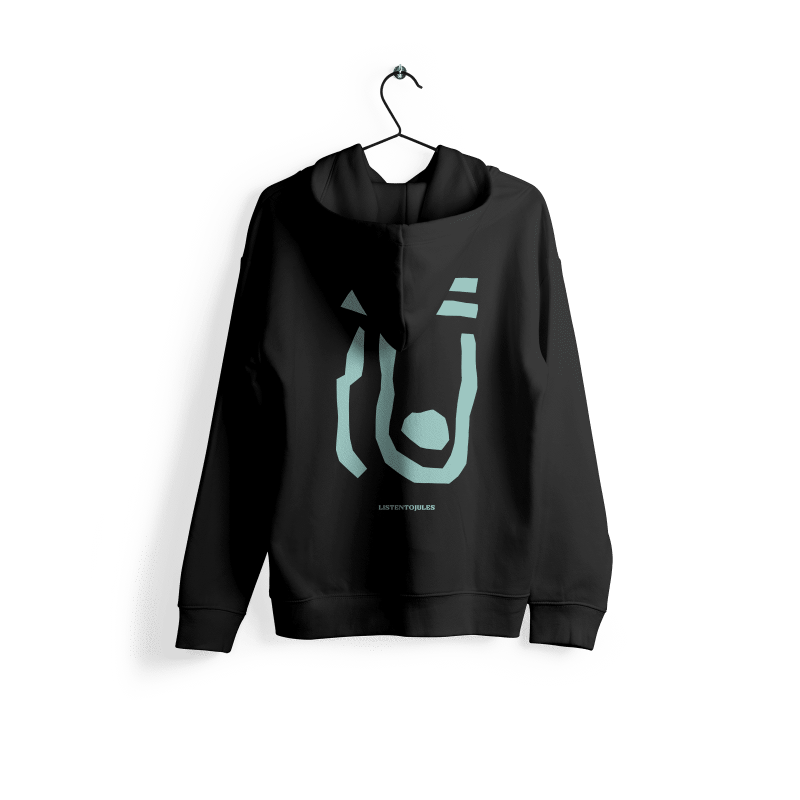 LISTENTOJULES   Hoody   Black with Backprint in Turquoise 1