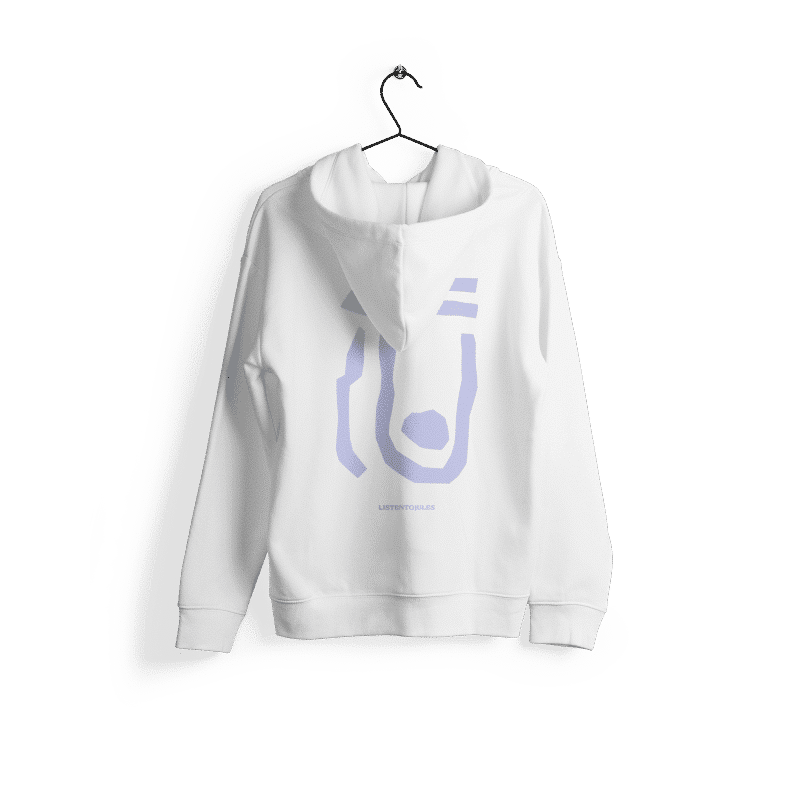 LISTENTOJULES | Hoody | White with backprint in purple 1