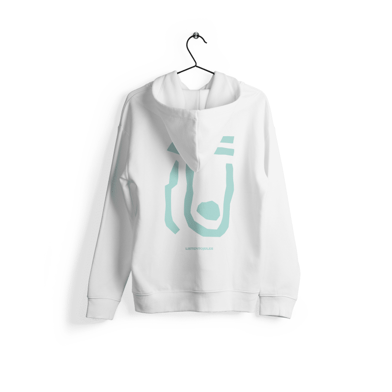 LISTENTOJULES | Hoody | Weiß mit Backprint in Türkis 1