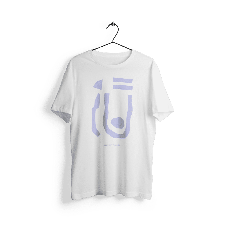 LISTENTOJULES | T-Shirt | White with front print in purple 1