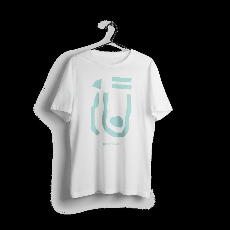 LISTENTOJULES | T-Shirt | Weiß mit Frontprint in Türkis 1